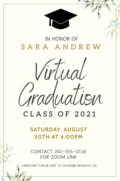 Minimalist virtual graduation invitation bann Banner 4' × 6' template