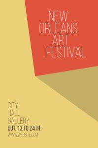 Minimalistic art festival exhibition poster Плакат template
