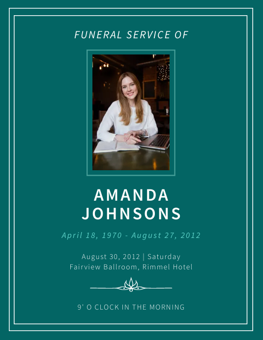 Minimalistic obituary flyer template Folder (US Letter)