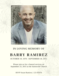 Minimalistic obituary flyer template Pamflet (Letter AS)