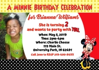 Minnie Birthday Postcard Invite Postal template