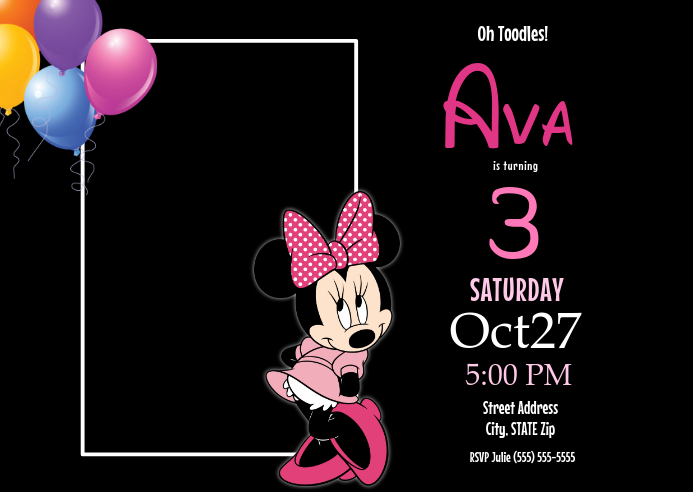 Customize This Design Template Designed By MiahBelle Designs Minnie Mouse Birthday Invitation