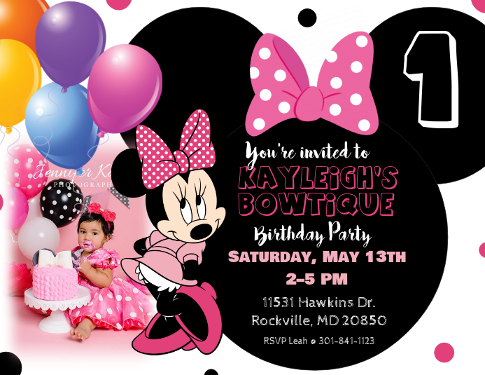 Minnie Mouse Birthday Invitation Template PosterMyWall - Minnie mouse birthday invitation images