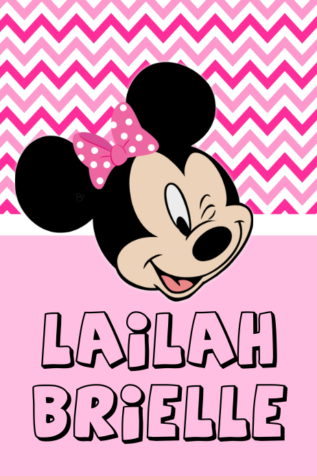 Minnie Mouse Name Poster