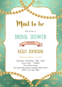 Mint and gold party theme invitation