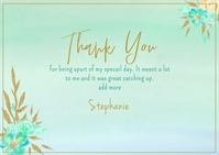 Mint Gold Glitter Watercolor Floral Postal template