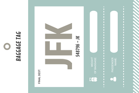 Mint Green and White Luggage Label