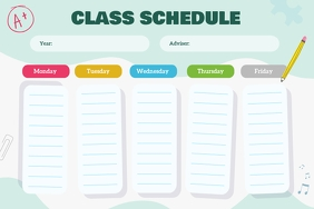 Mint Green Landscape Class Schedule Poster