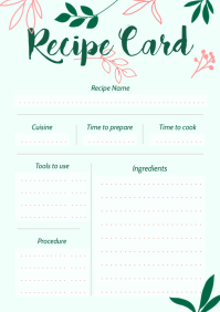 Mint Green Portrait Recipe Card