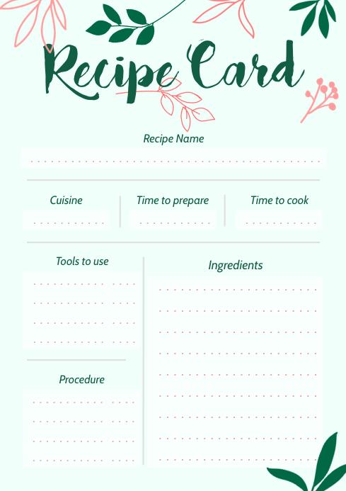 Mint Green Portrait Recipe Card A4 template