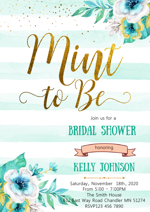 Mint to be bridal shower party invitation