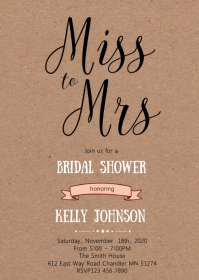 Miss to mrs bridal shower party invitation