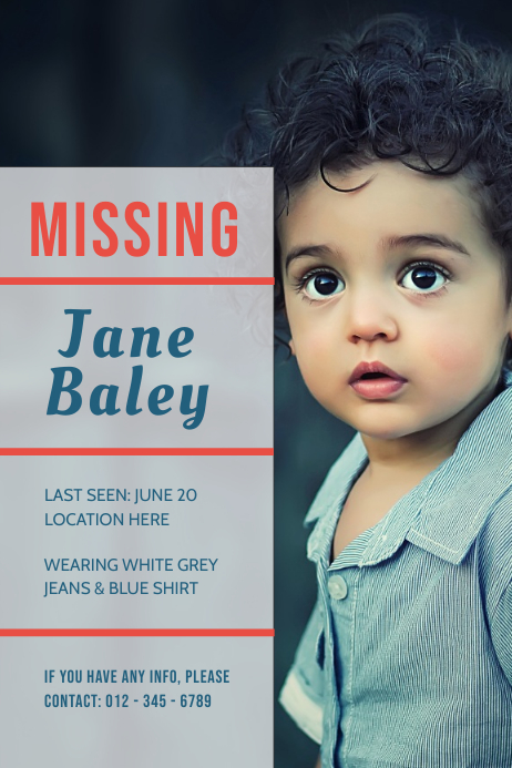 Missing Boy Poster template