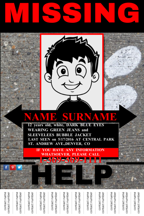 Missing Person Announcement Poster Template Postermywall