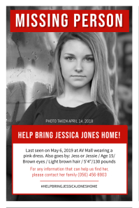 Missing Person Poster Black and White
