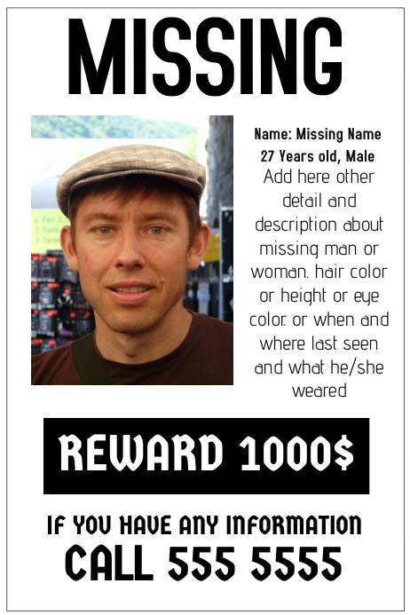 Missing Poster Template Postermywall