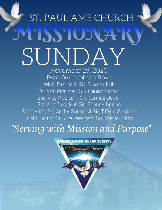 Missionary Church Sunday Folheto (US Letter) template