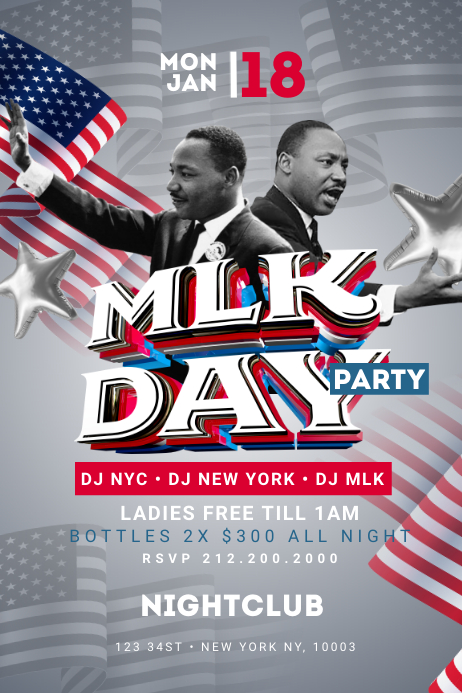 MLK Day Party Poster Template Iphosta