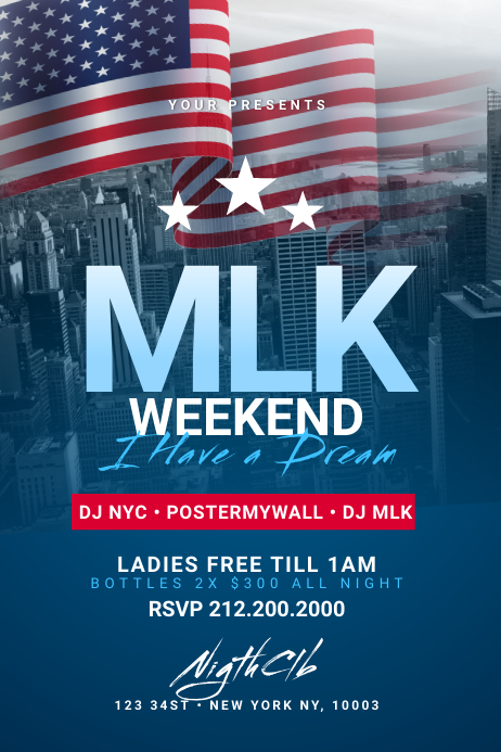 MLK Weekend Flyer Template Banner 4 x 6 fod
