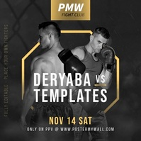 MMA Boxing Fight Fully Editable Promo Banner Message Instagram template