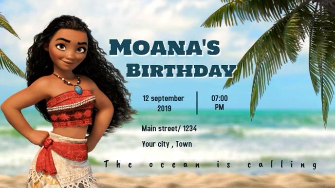 moana's birthday party digital display template