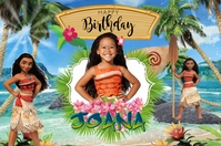 Moana Birthday Transparent 4 stopy × 6 stóp template