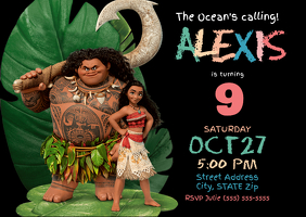 Moana Birthday Invitation A6 template