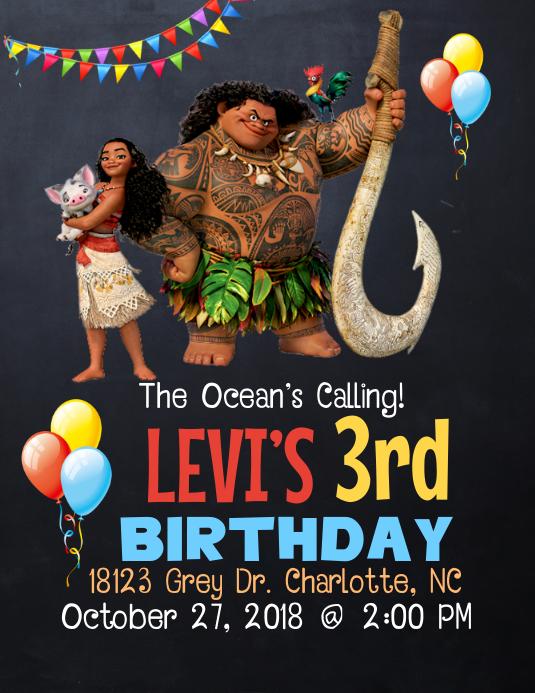 Moana Birthday Invitation