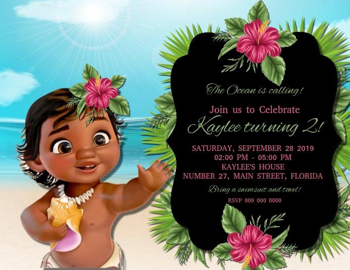 Plantilla De Invitación De Fiesta De Cumpleaños De Moana Postermywall