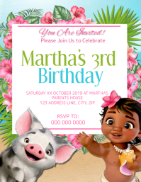 Moana Kids Birthday Invitation Template