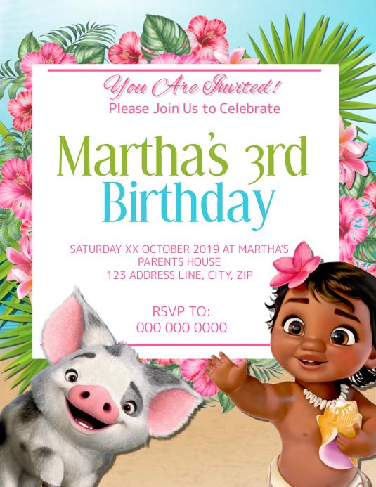 Moana Kids Birthday Invitation Template Flyer (US Letter)