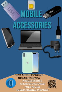 Mobile accessories flyer Spanduk 4' × 6' template