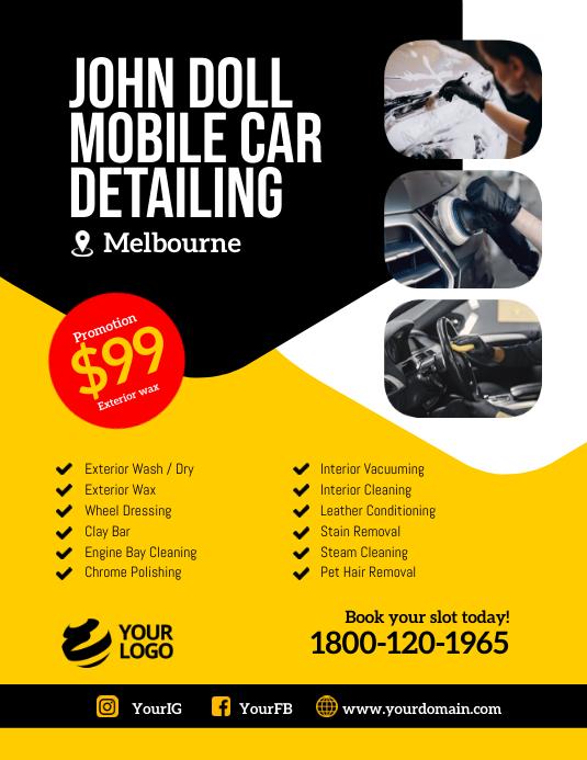 Mobile car detailing instagram template Flyer (US Letter)