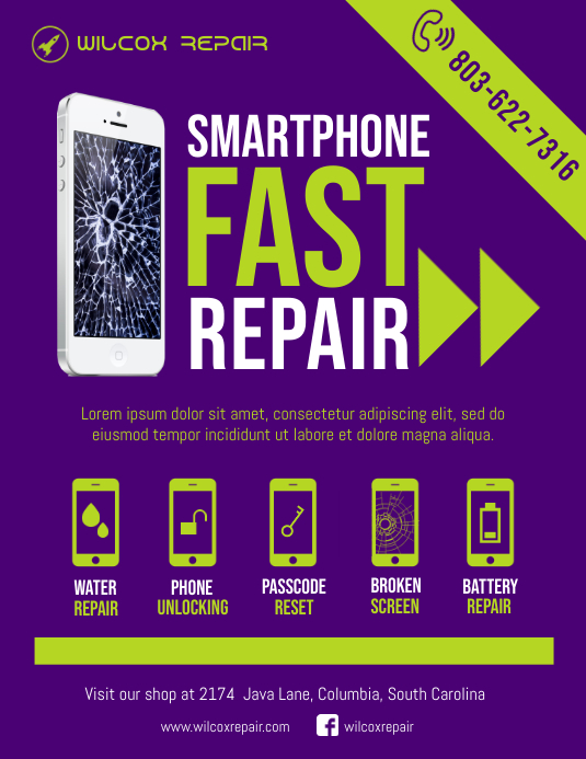 mobile pc repair shop flyer template