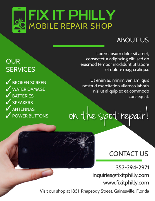 Mobile Phone Repair Service Shop Ad Flyer Template