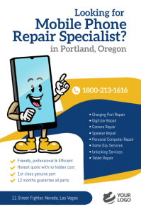 Mobile Phone Repair Specialist Flyer Poster template