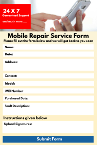 Mobile Repair Form Template Banner 4' × 6'