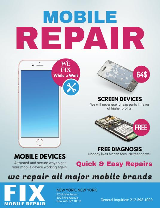 mobile screen repair printable flyer template postermywall