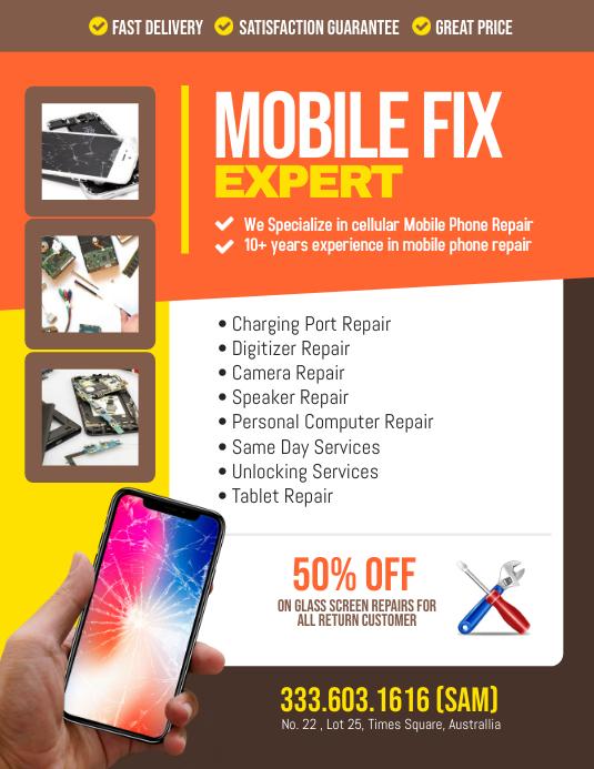 Mobile Smartphone Repair Flyer Poster