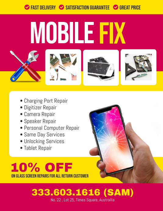 Mobile Smartphone Repair Flyer Poster