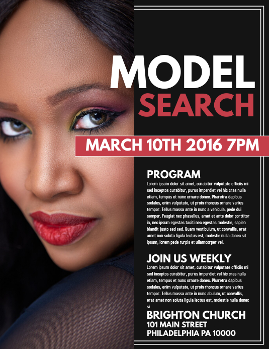 model search template postermywall