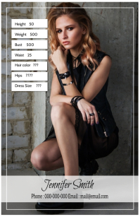 Modeling Comp card Half Page Wide template