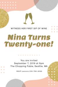Modern 21st Birthday Invitation