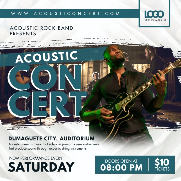 Modern Acoustic Concert Advert Instagram-bericht template