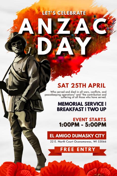 Modern Anzac Day Poster template
