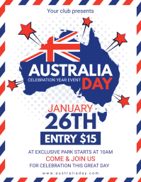 Modern Australia Day Celebration Invitation F Flyer (US Letter) template