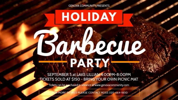 Modern Barbecue Party Digital Display Video Template