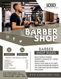 Modern Barber Shop Entry Rules Flyer template