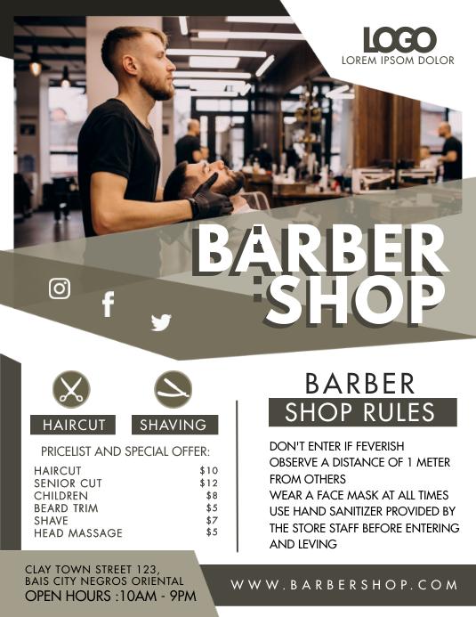 Haircut Trim Handout 8.5x11 Razor Professional Small Business Barber Shop Event Flyer Printable Flyer Design Salon Shave