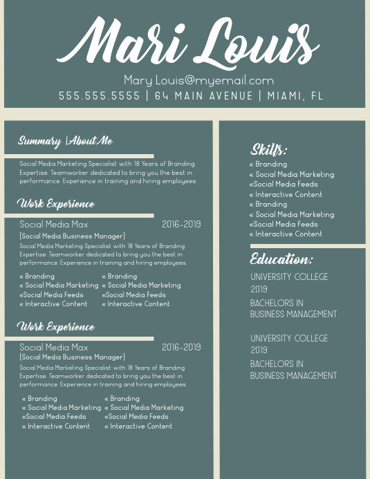 Modern Beige Green Resume Flyer (format US Letter) template